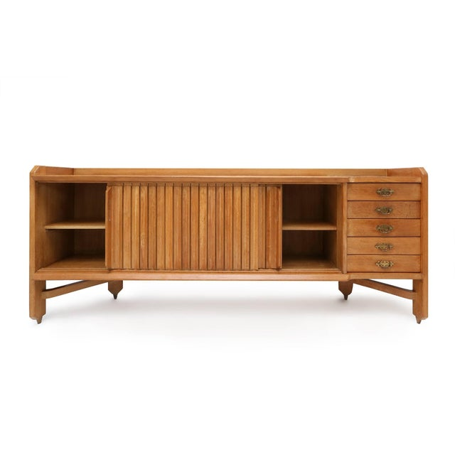 French Natural Oak Credenza by Guillaume et Chambron For Sale - Image 3 of 10