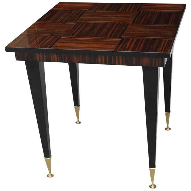 1940s Vintage French Art Deco Macassar Ebony Game Table For Sale