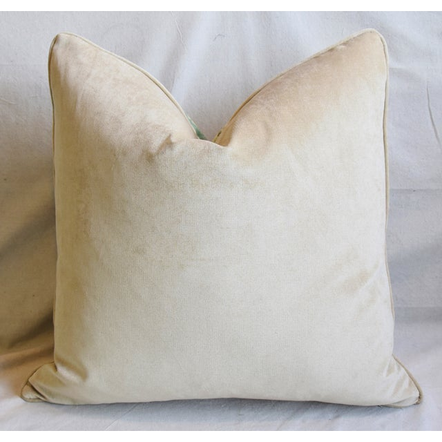 """French Jacobean Floral & Velvet Feather/Down Pillow 24"""" Square For Sale - Image 4 of 6"""
