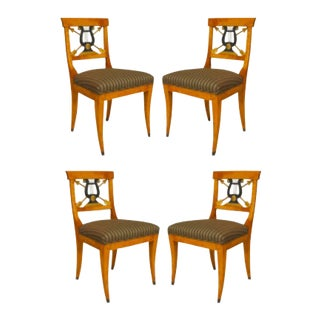 Swedish Biedermeier Lyre Maple Side Chairs - Set of 4 For Sale