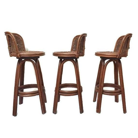 Vintage Rattan Bamboo Swivel Bar Stools Set Of 3 Chairish