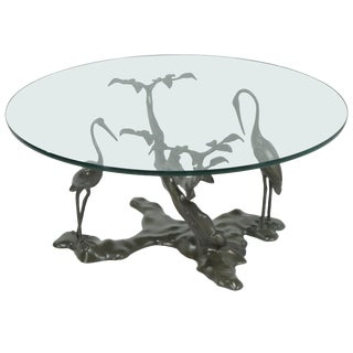 1970s Vintage Ethereal Bronze Verdigris Patinated Bonsai Tree and Crane Coffee Table Base For Sale