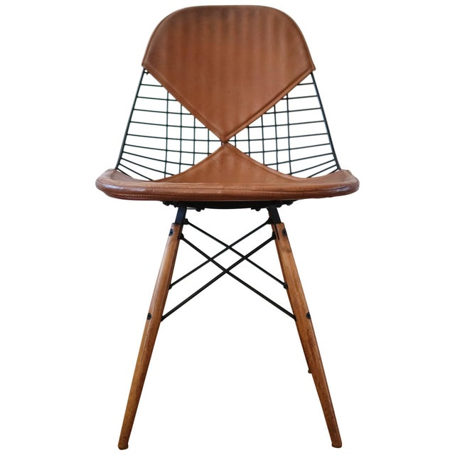 Eames Dkw-2 Dowel Wire Chair With Leather Bikini Cover For Sale - Image 13 of 13