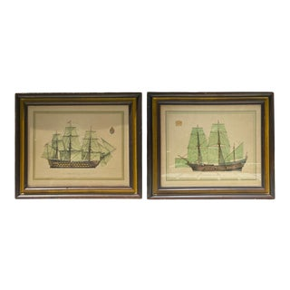 Vintage Wood Frame of Clipper Ship Sailboat & Crest Art – a Pair For Sale