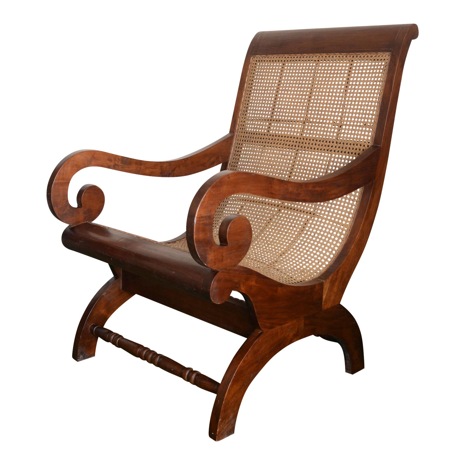 British Colonial Plantation Chair With Wicker Seat Chairish
