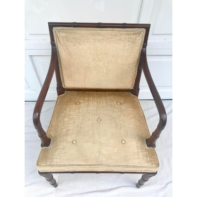 Hickory Furniture 1960s Traditional Hickory Mahogany Faux Bamboo Chair For Sale - Image 4 of 8