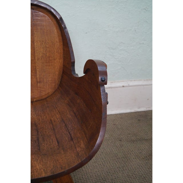 Vintage Oak Barrel Lounge Chairs - A Pair For Sale In Philadelphia - Image 6 of 10