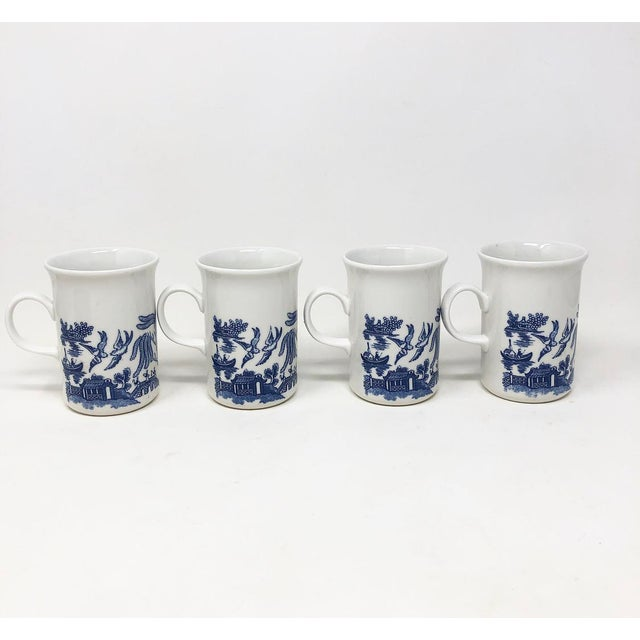 Vintage 1950s blue willow coffee/ tea cups / mugs. All stamped Made in England. Taller version.