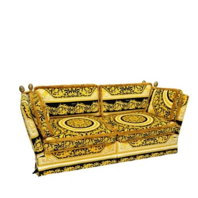 Gianni Versace Designer Custom Made Velvet Barroco Medusa Head Orleans Gold Black Sofa