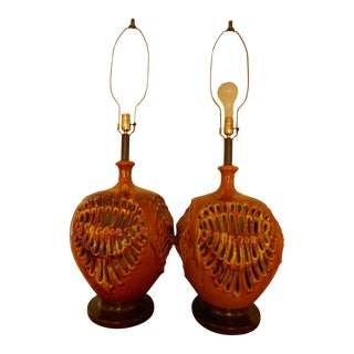 20th Mid-Century Brutalist Cut Drip Lamps - a Pair For Sale
