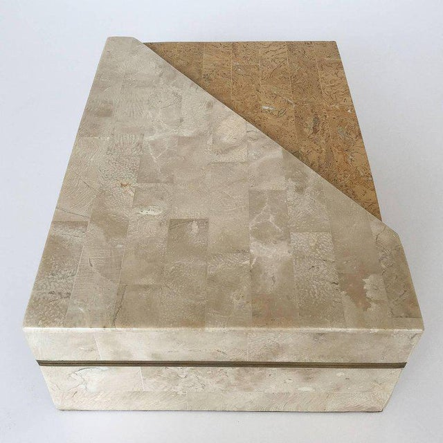 Maitland - Smith Maitland-Smith Asymmetrical Tessellated Stone Brass Box For Sale - Image 4 of 10