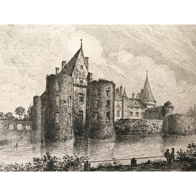 1877 French Chateau Sully-Sur-Loire Castle Etching For Sale - Image 4 of 5