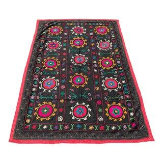 Needlework Crochet Black Suzani For Sale