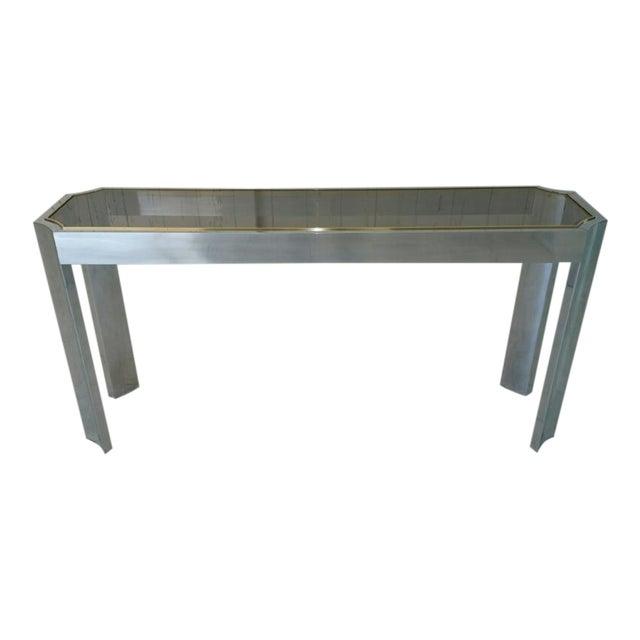 Aluminum & Brass Sofa Table - Image 1 of 6