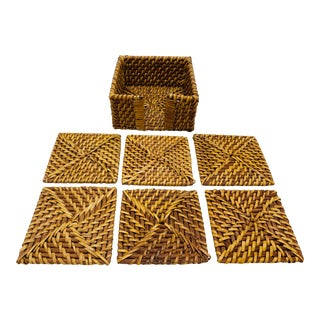 Rattan Woven Coasters With Holder, Set of 6 For Sale