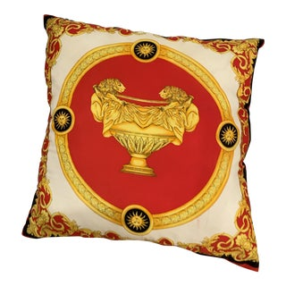 Large Vintage Neoclassical Silk Print Colorful Decorative Pillow Cushion For Sale