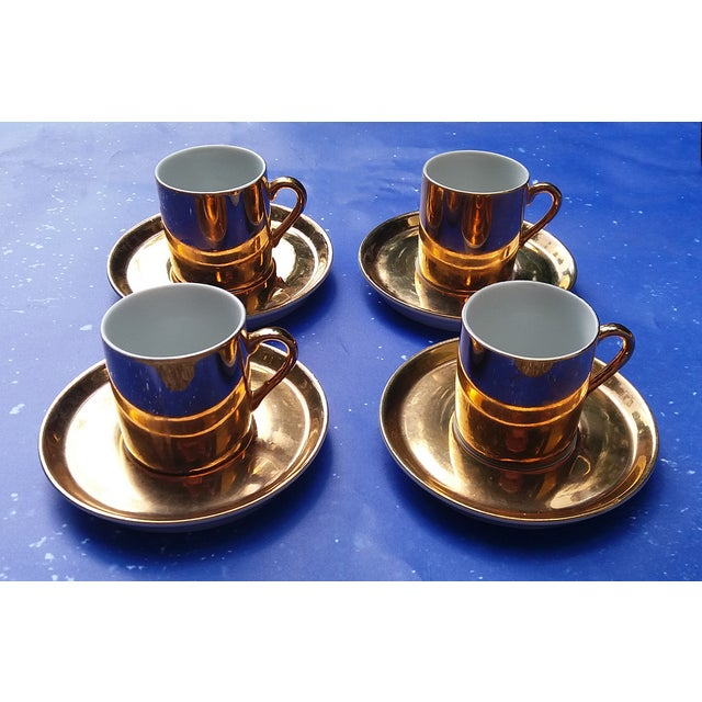 Gold Coffee Cups With Saucers - Set of 4 - Image 2 of 5