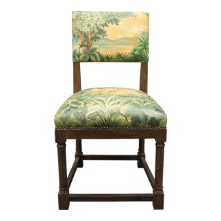 Vintage Upholstered Chair With Painted Tapestry Painted Scenery For Sale