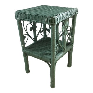 Late 19th Century Victorian Wicker Side Table For Sale