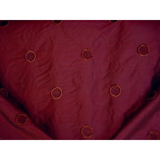 Traditional Kravet Couture 28195 Embroidered Circle Red Silk Upholstery Fabric - 12-1/2y For Sale