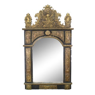19th Century French Renaissance Style Brass Embossed Wall Mirror For Sale