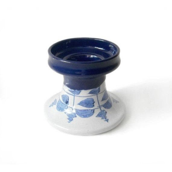 Bjorn wiinblad blue white ceramic candle holder chairish for Best brand of paint for kitchen cabinets with hanging crystal candle holder