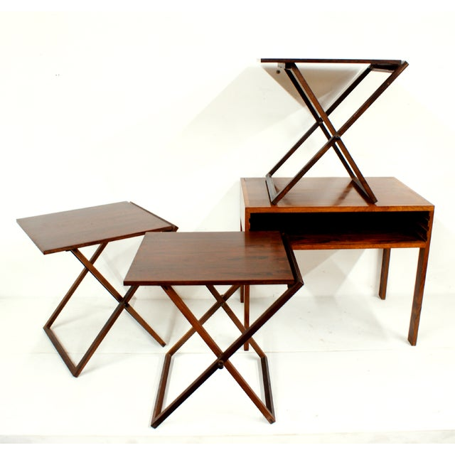 Rosewood Illum Wikkelso Danish Folding Tables Set - Image 3 of 5
