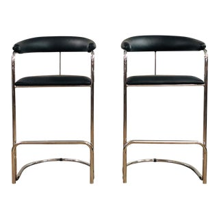 1970s Vintage Anton Lorenz for Thonet Chrome and Leather Bar Stoolst- A Pair For Sale