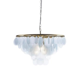Small Brass & Glass Cloud Chandelier For Sale