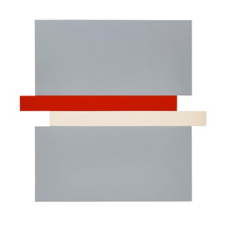 Scot Haywood, Compression, Gray, Red, Canvas, 2017, Acrylic on Canvas, 60In X 62In For Sale