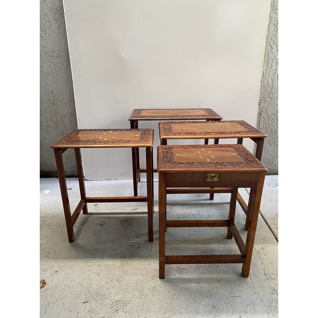 Brown 1960s Asian Stacking/Nesting Tables - Set of 4 For Sale - Image 8 of 10