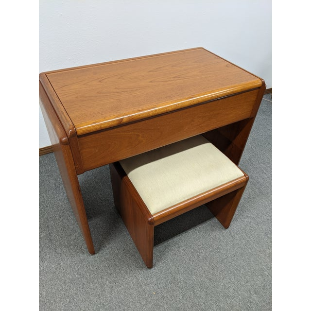 Danish Makeup Vanity With Stool For Sale - Image 9 of 10