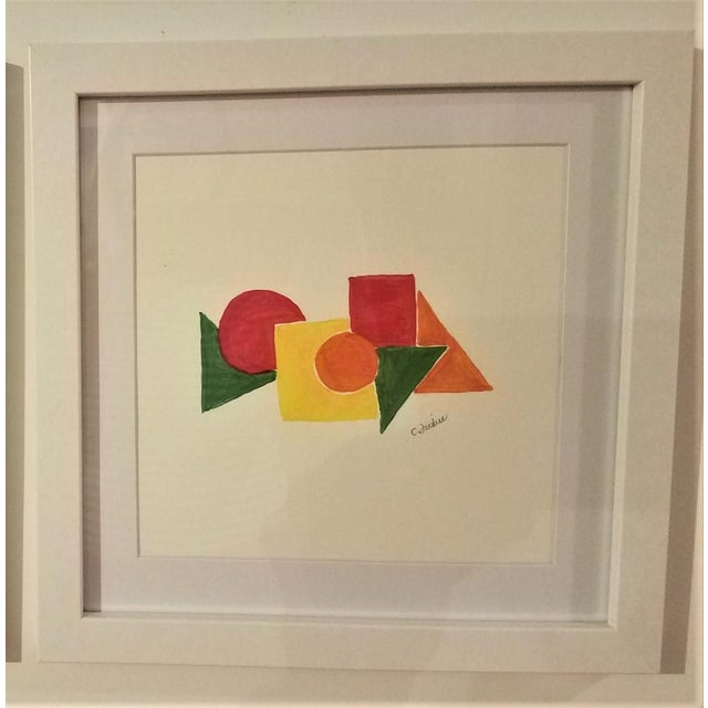 Christine Frisbee Geometric Hand Painted Framed Acrylics by Christine Frisbee - Set of 6 For Sale - Image 4 of 9