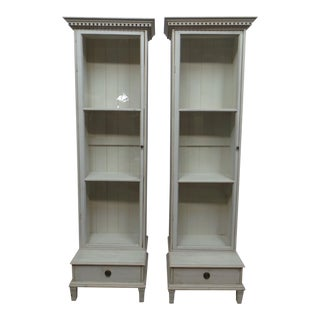 Two Swedish Glass Door Bathroom Display Cabinets For Sale