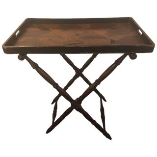 English Georgian Style Folding Tray on Folding Stand For Sale