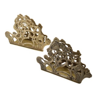 Late 19th Century Vintage Victorian Filigree Brass Letter Holder - Set of 2 For Sale