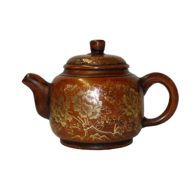 Clay Chinese Zisha Clay Brown Golden Scenery Teapot Display For Sale - Image 7 of 7