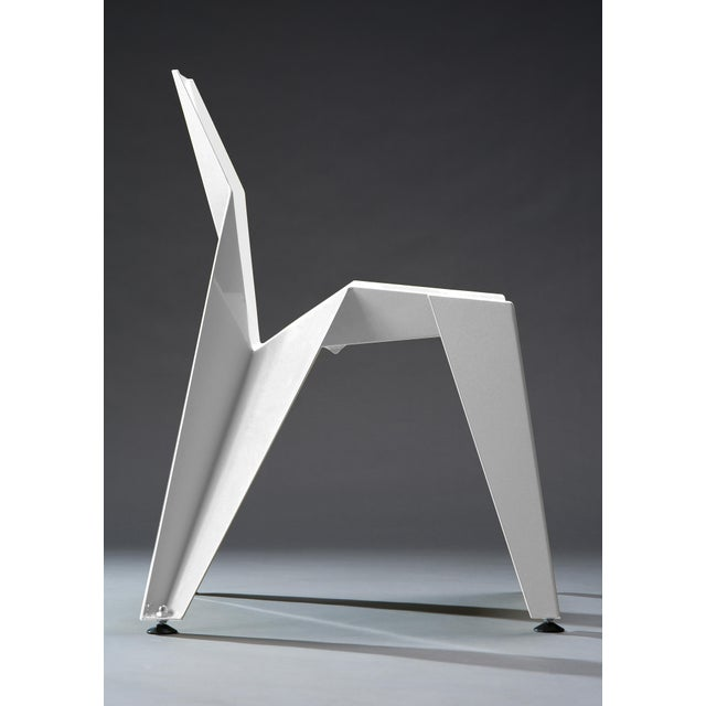 Metal Origami Inspired Edge White Chair | Indoor & Outdoor Chair For Sale - Image 7 of 9