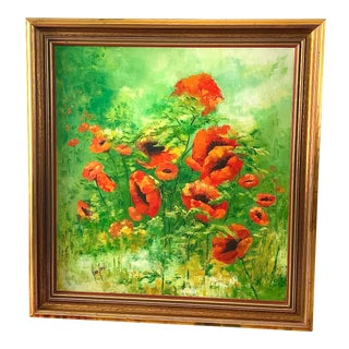 Poppies on Green Original Artwork For Sale