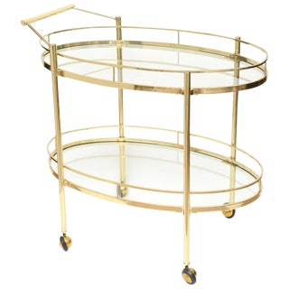 Polished Two-Tiered Brass and Glass Oval Bar and Serving Cart/ Trolley