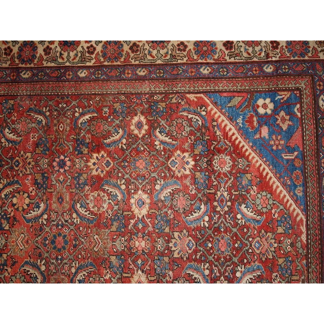 "Antique Persian Handmade Mahal Rug - 8'9"" X 11'7"" For Sale - Image 9 of 10"