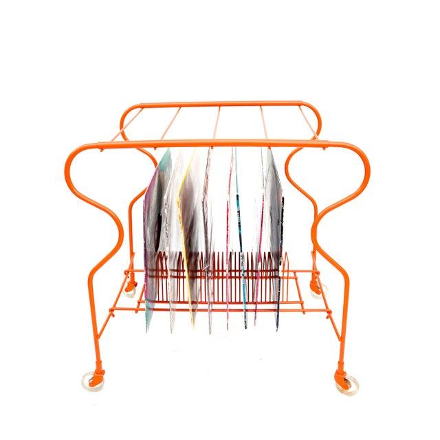 Mid-Century Modern Orange Metal Rolling Record Rack - Image 2 of 11