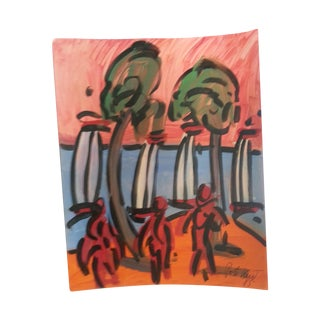 Peter Keil Abstract Beach Scene Painting For Sale