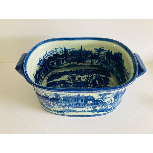 Modern Victorian Style Large Blue & White Porcelain Victoria Ware Ironstone Planter / Bucket , This is a very Heavy bucket...
