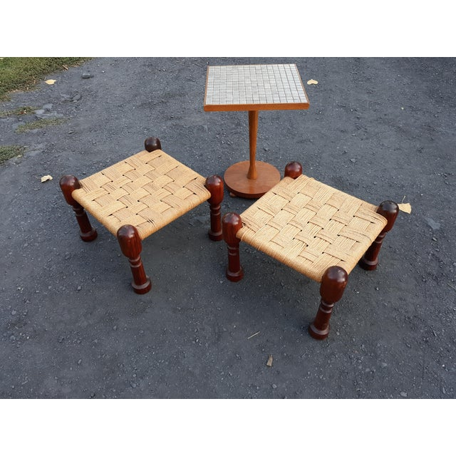 1960s Danish Modern Rosewood and Rope Ottomans - a Pair For Sale - Image 6 of 9