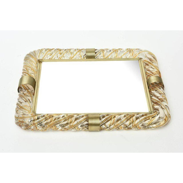 1950s Italian Murano Vintage Glass and Brass Picture Frame For Sale - Image 5 of 11