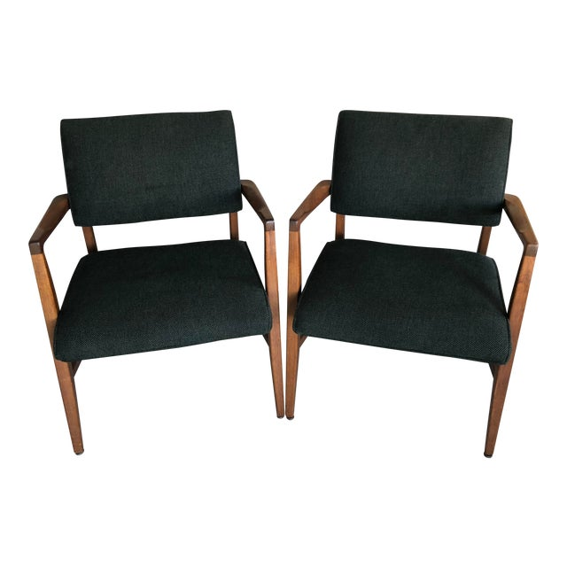 Mid Century Danish Modern Upholstered Arm Chairs - a Pair For Sale