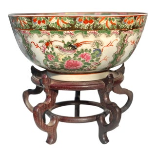 Vintage Chinese Porcelain Birds of Paradise Hand Painted Bowl W/ Wood Stand For Sale