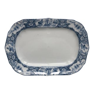 Staffordshire Blue and White Platter, England Circa 1880 For Sale