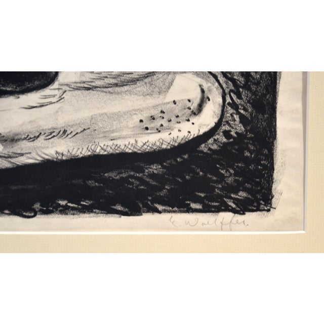 Abstract Expressionism Emerson Woelffer Graphite on Paper, 'Rock Formation' C 1950s For Sale - Image 3 of 6